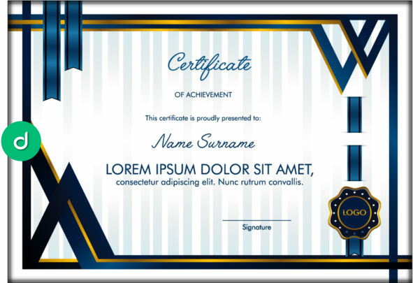 83764Dark Blue Certificate frame with Blue Ribbon and Medals